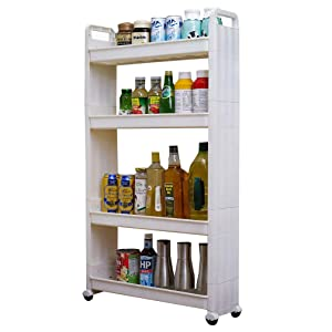 BAOYOUNI Slim Slide Out Rolling Storage Cart Tower, Narrow Space Organizer Rack with Wheels for Laundry, Bathroom, Kitchen & Living Room (4-Tier)