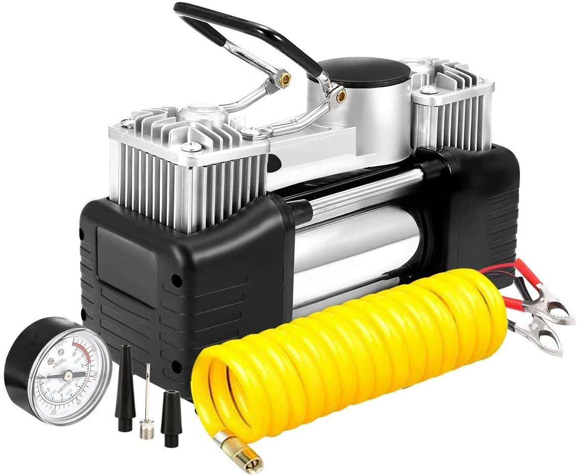 SUCAN 12V 150PSI Bomba de aire de doble cilindro portátil de aire comprimido compresor de aire inflador de neumáticos para camión de coche RV: Amazon.es: Coche y moto