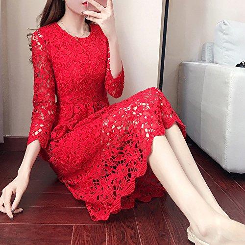 Niña Largo 2XL Vestido Encaje Otoño Calados Gules En De Largo Xl De Rojo ZHUDJ El El Vestido Huimen Vestido Vestidos 7PHIIS