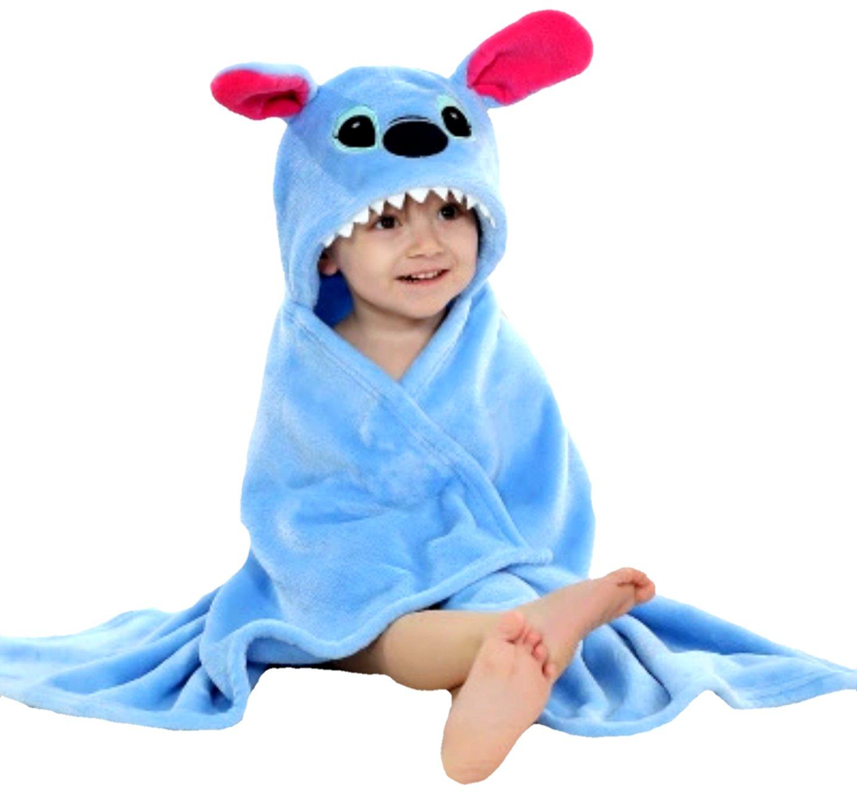 BRANDONN Baby Boys and Girls Ultra-soft Extra Large Animal Hooded Wrapper / Bathrobe, 0-6 months (Blue)