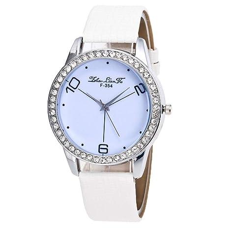 Amazon.com: Reloj de DAMA WoCoo Simple Analog Quartz Rhinestone Dial Wrist Watch with Leather Strap Watches Gifts (Black): Kitchen & Dining