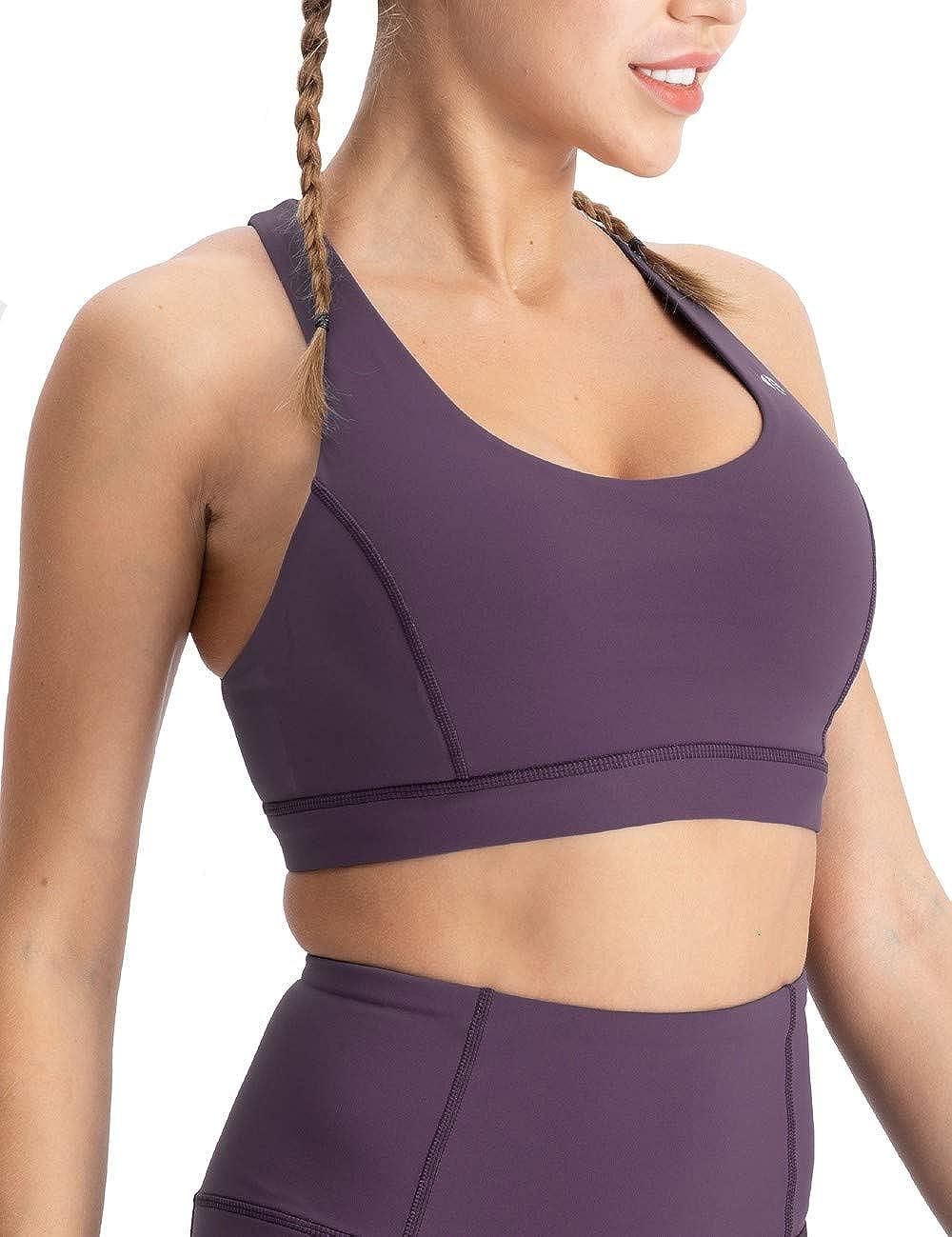 coastal rose Womens Yoga Bra Top Strappy Back Push Up Crop Sports Bra Activewear