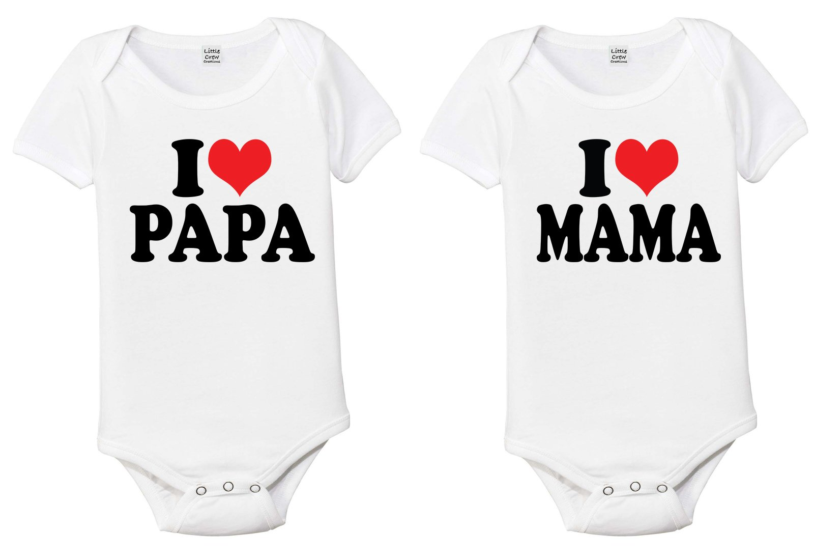 Little Crew Creations Love Papa I Love Mama Baby One-Piece Romper Baby Bodysuit Set