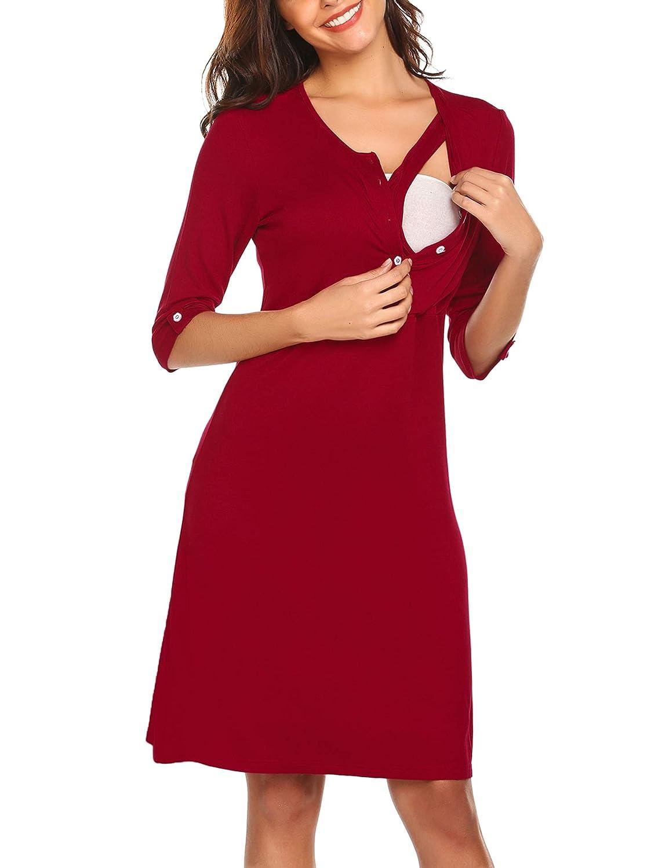 HOTOUCH Womens Maternity Dress Short Sleeve Nursing Nightgown for Breastfeeding Nightshirt Sleepwear S-XXL