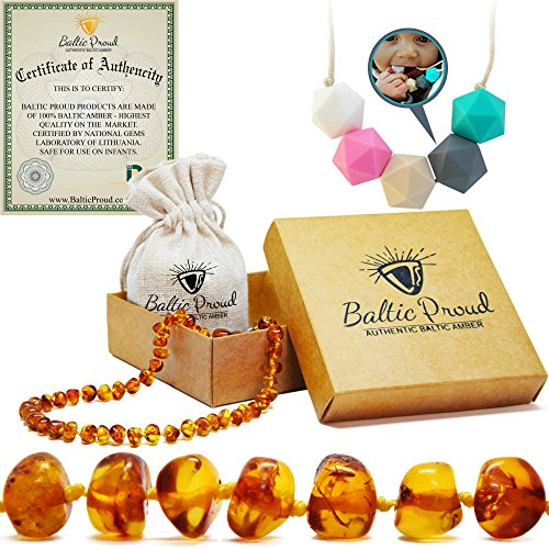 Amber Teething Necklace For Babies Gift Set (Honey)(Unisex) + Silicone Teething Necklace - Anti Inflammatory, Natural Drooling And Teething Pain Relief, Highest Quality, Authentic Baltic Jewelry. (Infant Raisin Girl)