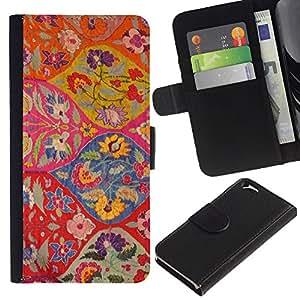 Planetar® Modelo colorido cuero carpeta tirón caso cubierta piel Holster Funda protección Para Apple (4.7 inches!!!) iPhone 6 ( Floral Pattern Art Ogee Red Colorful )