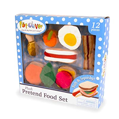 Pop-Oh-Ver - 12 Piece Plush Food Set Play Set - Comes With Realistic Looking Foods - Fake Foods For Hours Of Pretend Fun - Great For Young Kids - Create A Passion For Cooking Early On: Toys & Games