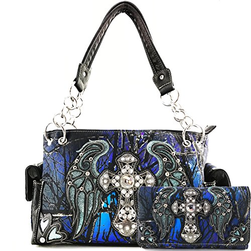 Justin West Camouflage Tree Branches Bling Rhinestone Cross Wings Handbag Purse Messenger Bags and Wallets (Cross Blue Handbag and Wallet)