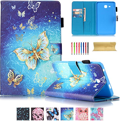 Galaxy Tab A 7.0 Case,UUcovers Synthetic Leather Stand Case Wallet Case [Card Holder] Flip Folio Wallet Case Cover for Samsung Galaxy tab A 7.0 T280/T285-Golden Butterfly