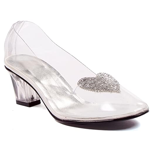 11bac55d92f Image Unavailable. Image not available for. Color  Womens Sexy Clear Shoes  Heeled Pump Slipper With Silver Glitter Heart ...