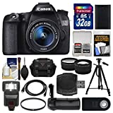 Canon EOS 70D Digital SLR Camera & EF-S 18-55mm IS STM Lens with 32GB Card + Case + Flash + Battery + Grip + Tripod + Tele/Wide Lens Kit