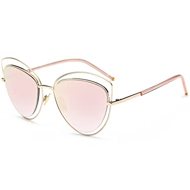eb1fc66fbc SojoS Women s Double Wire Double Rimmed UV400 Cat Eye Sunglasses SJ1047  With Gold Frame Pink