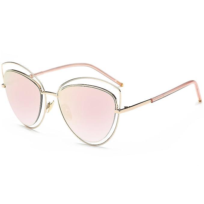 SojoS Gafas De Sol Diseño de Doble Alambre y Doble Montura para Mujeres UV400 Ojos de Gato SJ1047