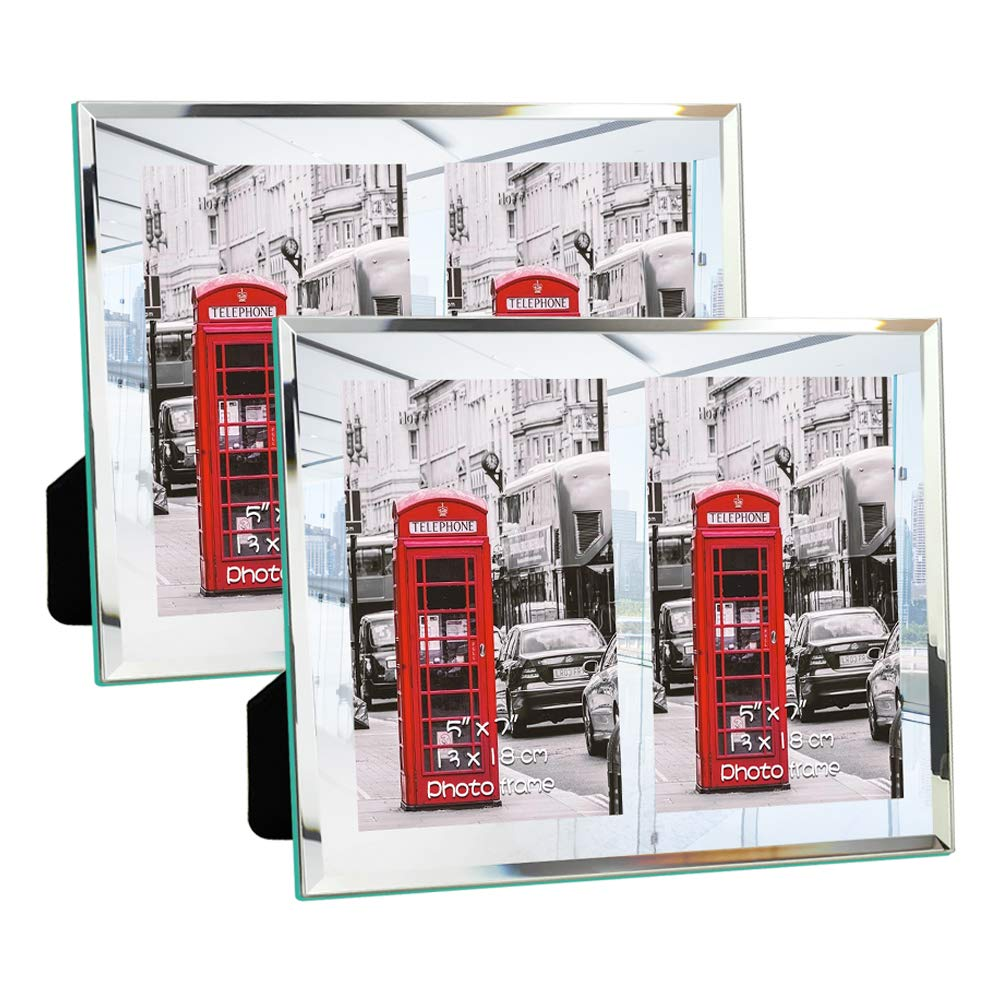 Palomzi Double 5x7 Picture Frames Glass Photo Frame with 2-Opening, Tabletop Display,Set of 2Pcs