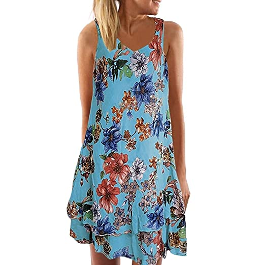 4f59626de620 TOTOD Dress for Women Bohemian Print Hawaiian Style Summer V Neck Floral  Beach Party Mini Double