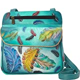 Anuschka Women's Floating Feathers Multi Pocket Travel Crossbody