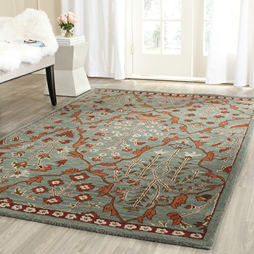 Safavieh Wyndham Collection WYD206A Handmade Blue and Rust Wool Area Rug, 5 feet by 8 feet (5' x 8') by Safavieh