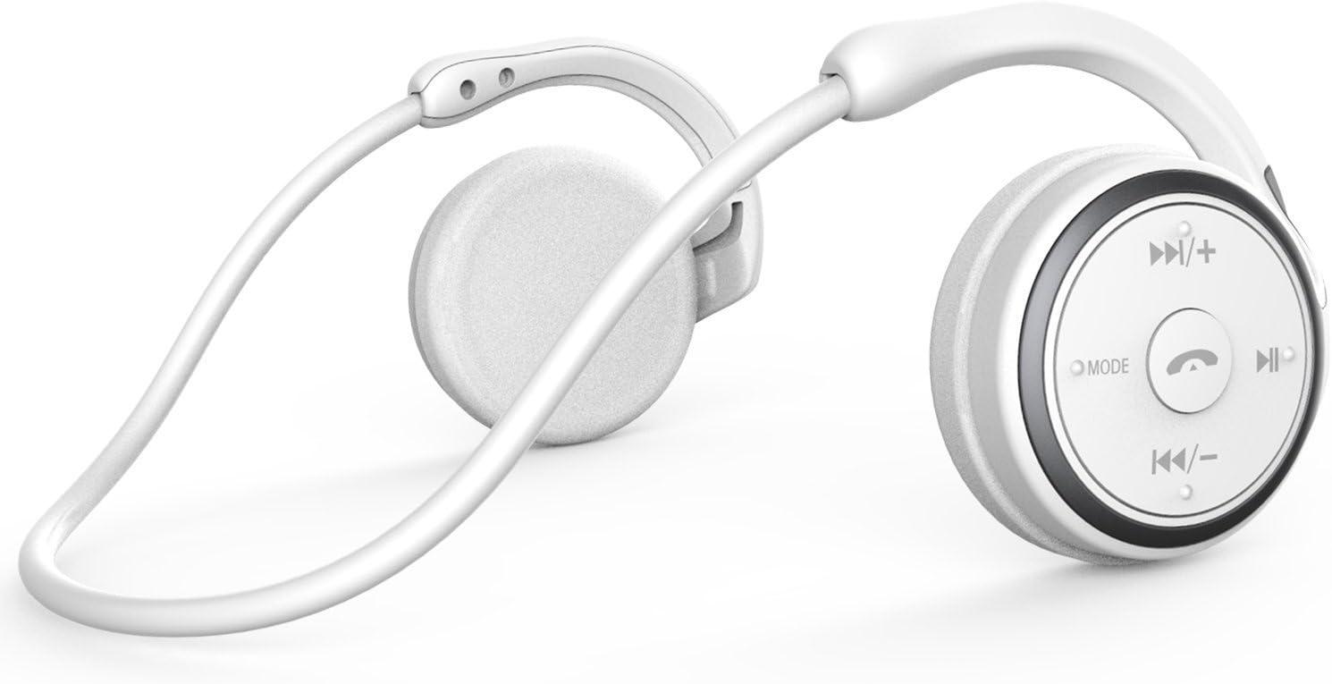 Auriculares Bluetooth 4.1 Deportivos Inalámbricos Cascos,Inalámbricos Running Impermeable Cascos Correr con Micrófono,Hi-Fi Sonido Estéreo,12 Horas de Juego,Gimnasio (Blanco)