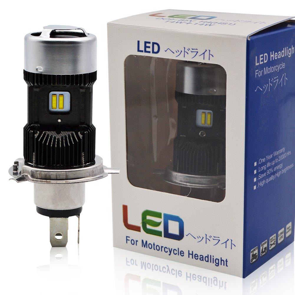 H4 Led Moto Ampoules Kit - Kashine H4 LED Ampoule Moto Phare Hi/Lo Faisceau Xenon Blanc 6000K 30000Lm Super Lumineux (2 piè ces)