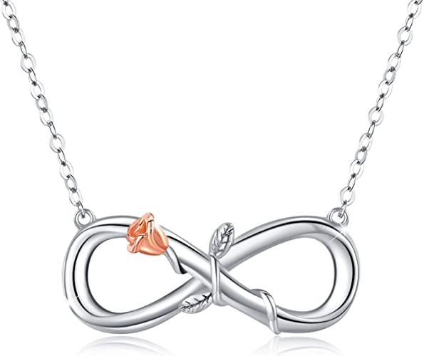 Rose Gold Plated Cz Infinity w// heart .925 Sterling Silver Pendant Necklace