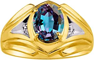 RYLOS Mens Ring with Oval Shape Gemstone & Genuine Sparkling Diamonds in 14K Yellow Gold Plated Silver .925 With Satin Finish - 7X5MM Color Stone Birthstone Rings