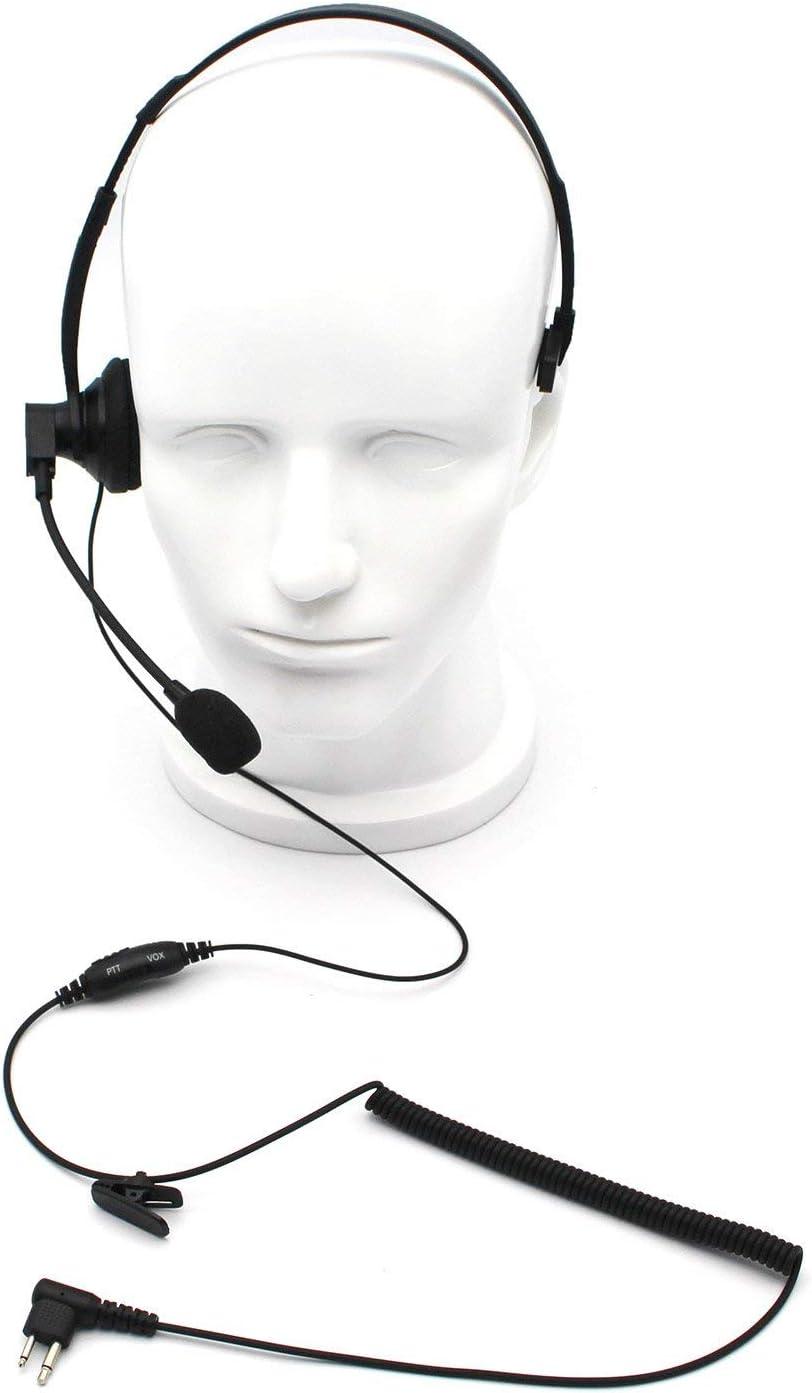 GoodQbuy Over-Head Earpiece/Headset with Boom Mic &VOX for Motorola Radios Walkie Talkie RMM2050 GP300 CP200 PR400 CLS1110 2-pin