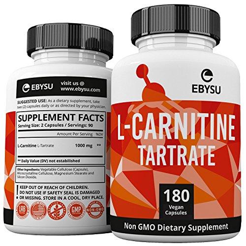 EBYSU L-Carnitine Tartrate - 180 Capsules 1000mg Max Strength Pure L Carnitine Supplement by EBYSU (Image #5)