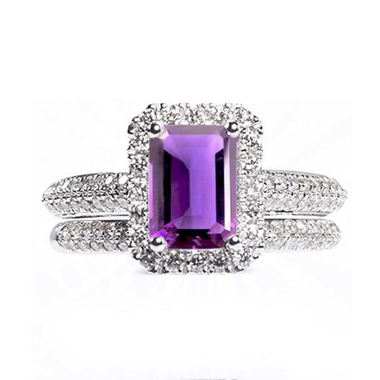 f903fd2ad9b6 Buena Lilu Jewels - Juego de anillos de compromiso para mujer