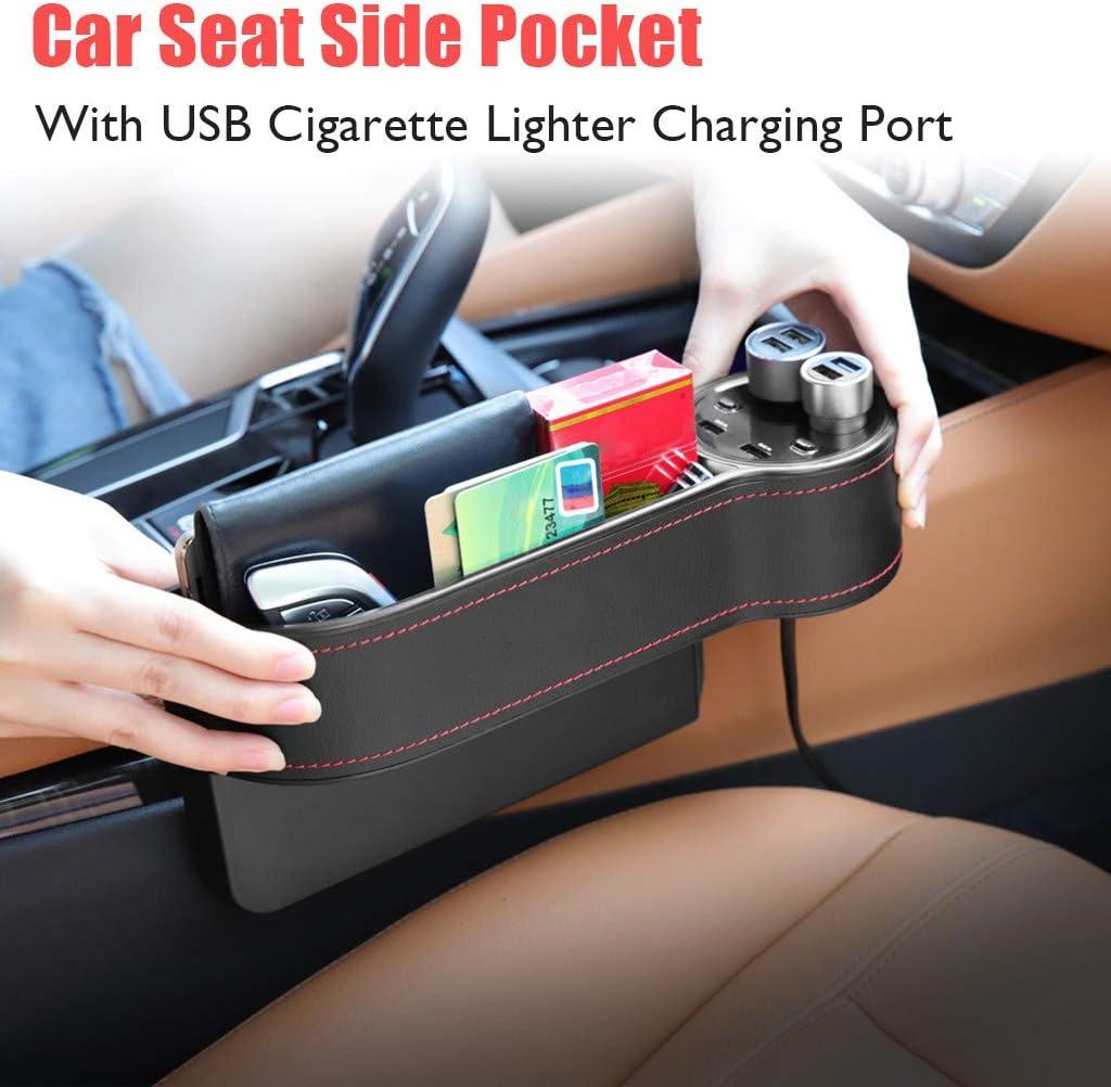 Schwarz MMLC Multifunktionale Autositz Gap Aufbewahrungsbox Autositzf/üller Seitentasche f/ür Autositz mit USB-Ladeanschluss f/ür Zigarettenanz/ünder