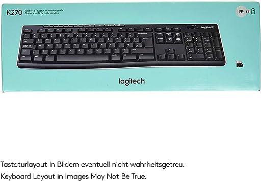 Logitech K270 Teclado Inalámbrico para Windows, Disposición AZERTY Francés, Negro