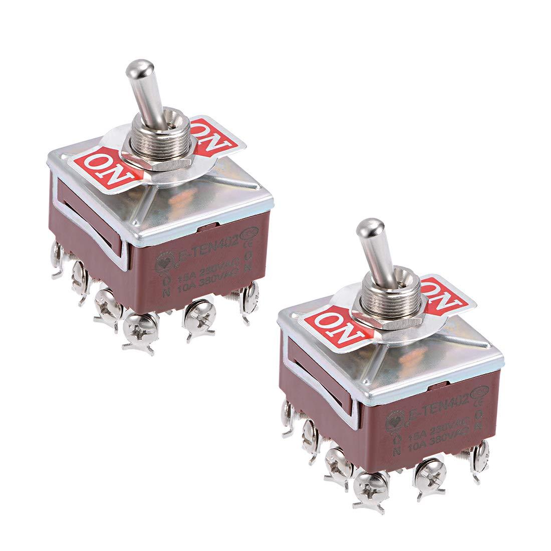 AC 250V//2A 125V//5A 3PDT ON-ON 2 Positions 9 Pins Toggle Switch 8 Pcs