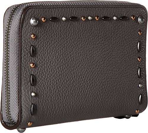 caa1c89ad05 COACH Women s Medium Zip Around Wallet with Prairie Rivets Dk Heather Grey  One Size. Lh Chalk