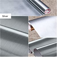 Brushed Metal Look Contact Paper Film Vinyl Self Adhesive Backing Waterproof Metallic Gloss Shelf Liner Peel and Stick Wall Decal for Covering Counter Top Kitchen Cabinet (60 X 200cm)