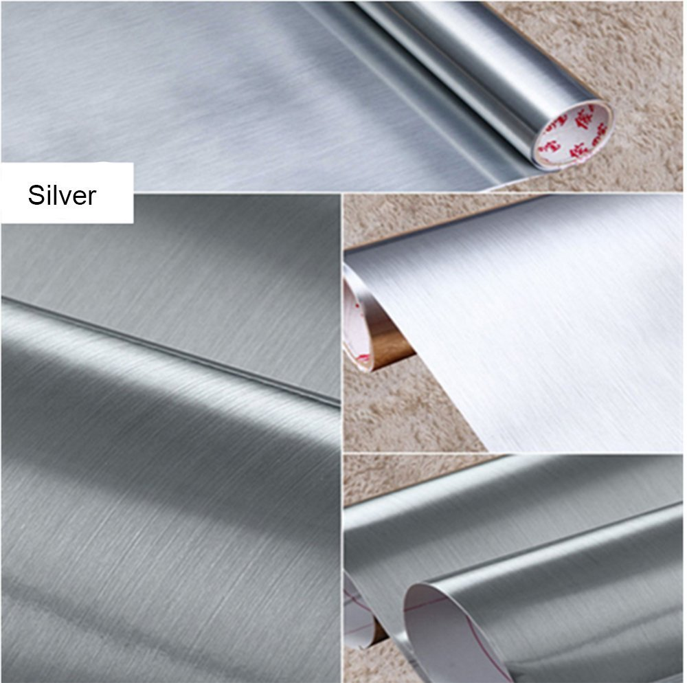 IHomee Brushed Metal Silver Contact Paper Film Vinyl Self Adhesive Backing Waterproof Metallic Gloss Shelf Liner Peel and Stick Wall Decal for Covering Counter Top Kitchen Cabinet (24''x118'')