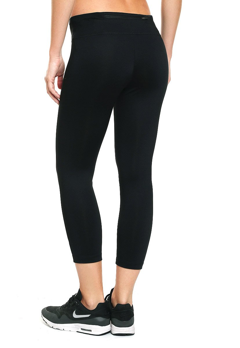 NIKE Women's Power Essential Dri-FIT Running Crops, Black/Black, Small by Nike (Image #2)