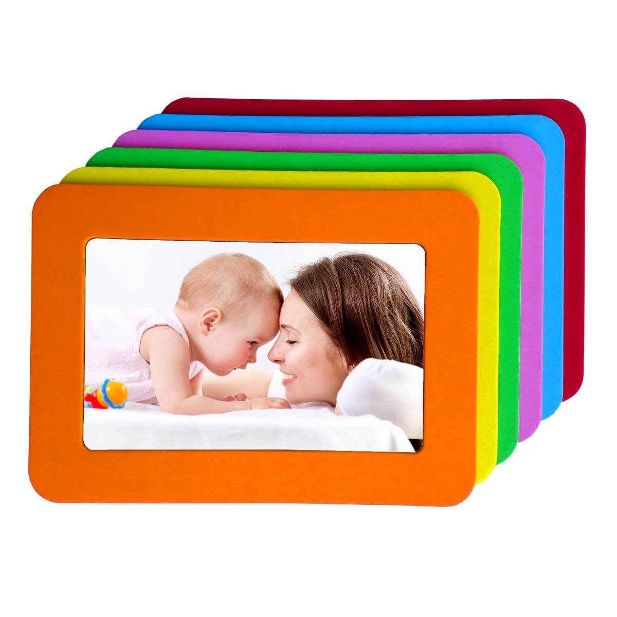 4x6 Magnetic Picture Frames Colorful Magnetic Photo Frames for Refrigerator 4x6 Magnet Frame Thick Strong Magnet Photo Frame Holder Magnetic Frames Magnets Frame for Iron Material Surface Decor 6 Pack by ToDream
