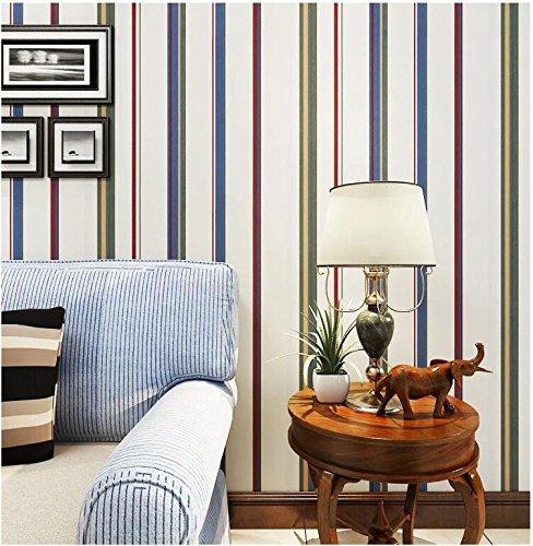Yosot Simple Color Striped Wallpaper Bedroom Living Room Tv Background Children's Room Wallpaper ()
