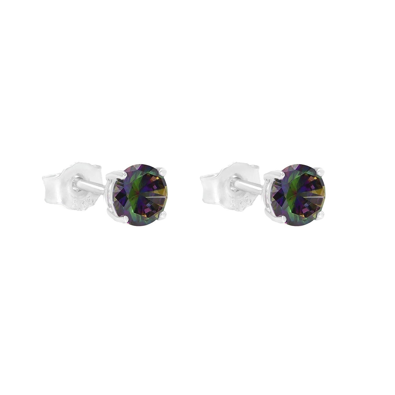 925 Sterling Silver Mystic Fire Cz Stud Earrings