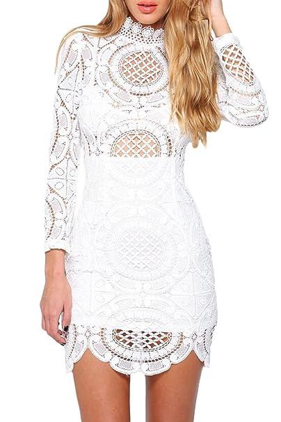 Mini vestido de Crochet blanco encaje cuello alto