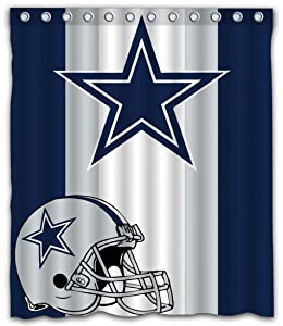 Sonaby Custom Stripe Dallas Cowboys Waterproof Fabric Shower Curtain for Bathroom Decoration (60x72 Inches)