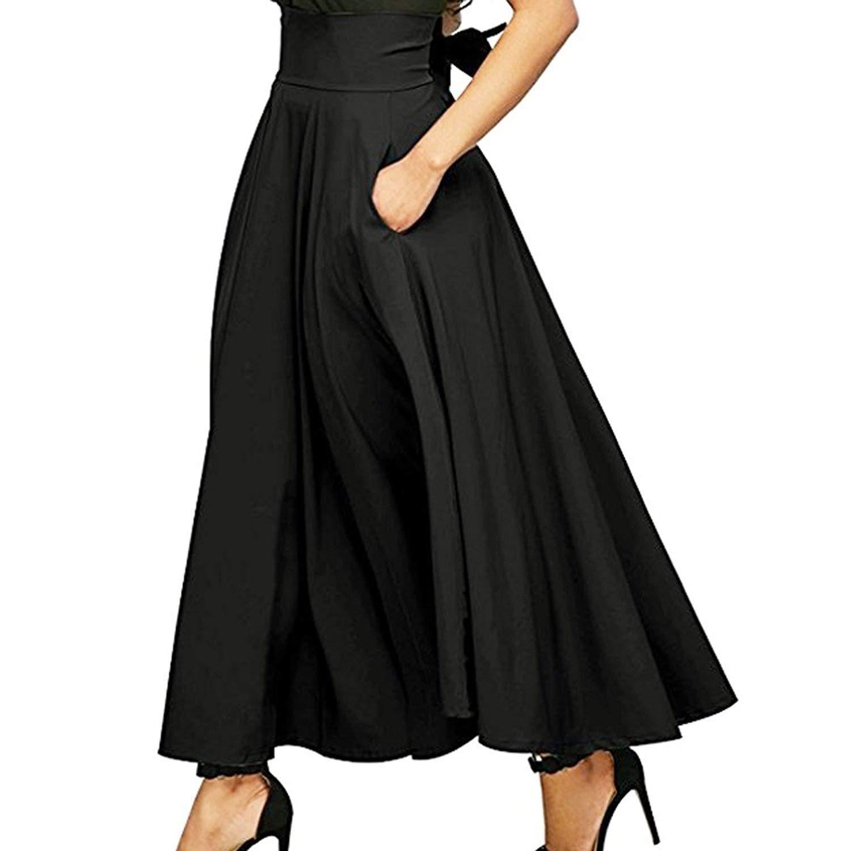 MOONHOUSE 2018 New Women's High Waist Long Skirt Pleated A Line Swing Skirt Front Slit Belted Maxi Skirt (XXL, Black)