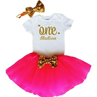 ff02add14ae39 Personalized Baby Girls 1st Birthday Outfit, 1st Birthday Gift, First  Birthday Outfit - Sparkly Gold One Design