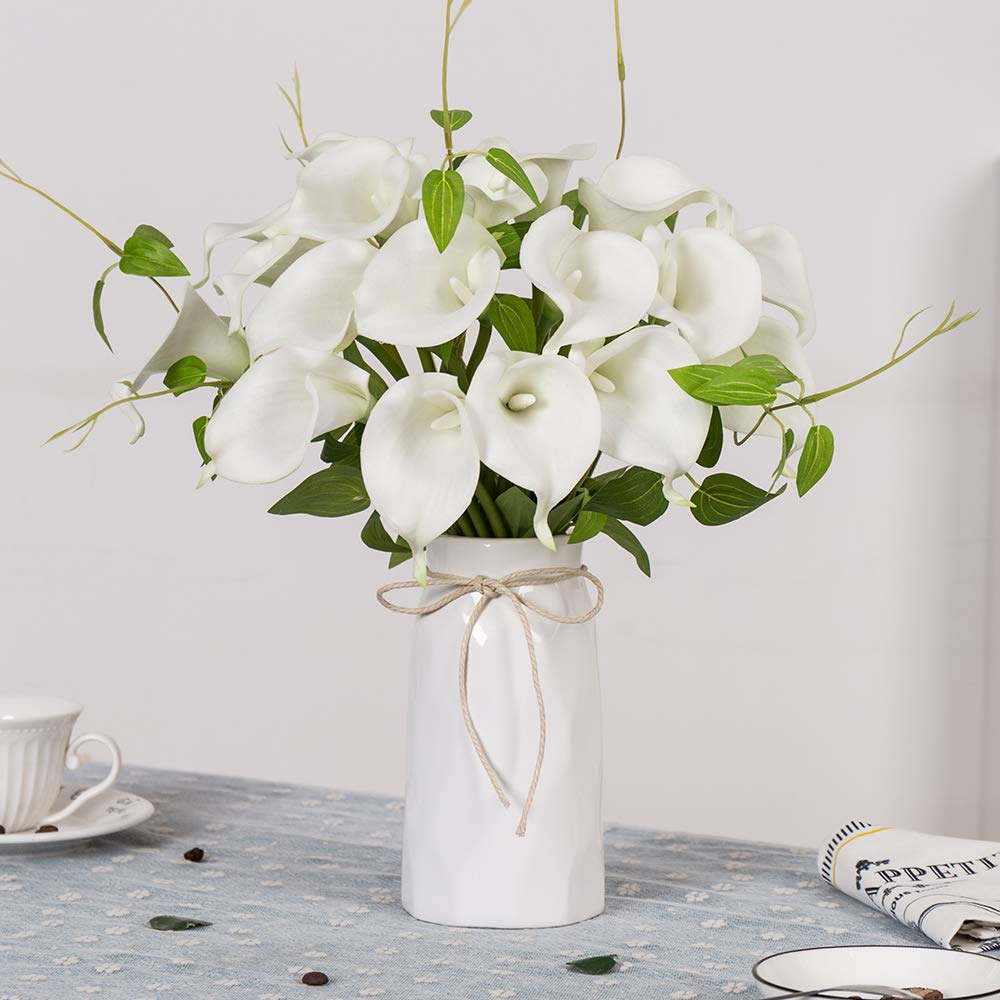 YUYAO Calla Lily Artificial Flowers with Ceramic Vase Bridal Wedding Bouquets Latex Real Touch Lillies Flower Arrangements for Home Party (White 1 with vase) by YUYAO