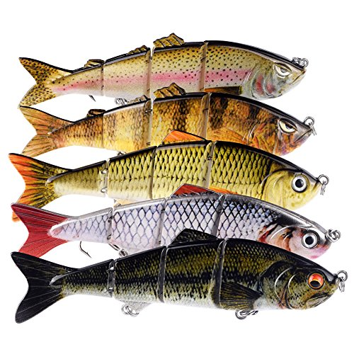 BOMSO 1pc Fishing Lure Swimbait Multi Jointed Artificial Bait Crankbait Hard Bait...
