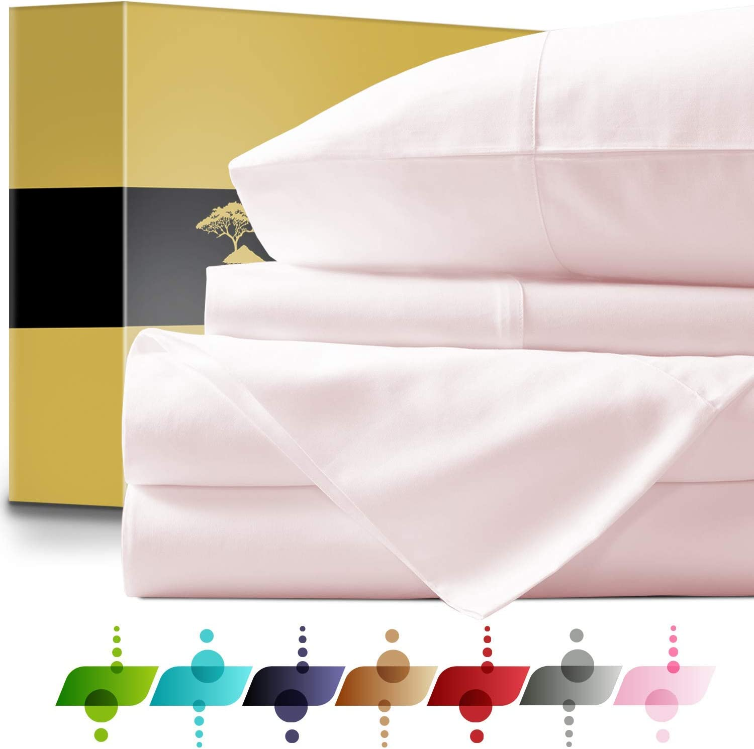 Urban Hut Egyptian Cotton Sheets Set (4 Piece) 1000 Thread Count - Bedspread Deep Pocket Premium Bedding Set, Luxury Bed Sheets for Hotel Collection Soft Sateen Weave (Queen, Blush)