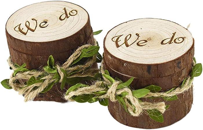 Amosfun 2 unids Caja de Madera de Anillos de Novios en Forma de Madera Cajas de Madera para Decorar para Fiesta Ceremonia de Boda Vintage Caja de Joyería: Amazon.es: Hogar