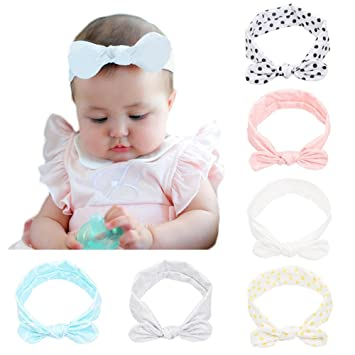 Amazon.com  CANSHOW Baby Girl Headbands 6 Pack Soft Stretch Cotton ... 13209ce5457