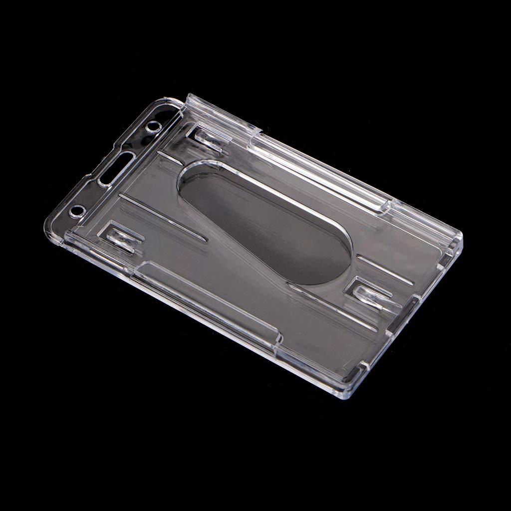 SimpleLife 1pc Doubles Cartes Couvrent Dur en Plastique ID Porte-Badge Protecteur Vertical Clair