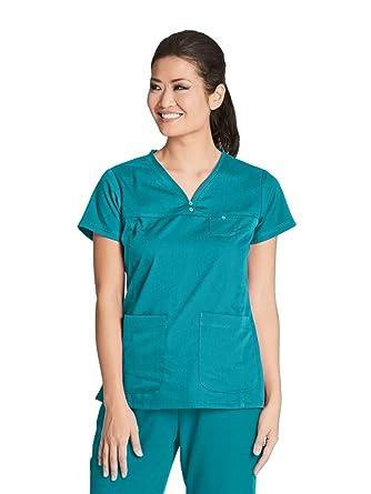12859d35293 Amazon.com: Grey's Anatomy Womens 41340 3 Pocket V-Neck Tonal Stitch ...