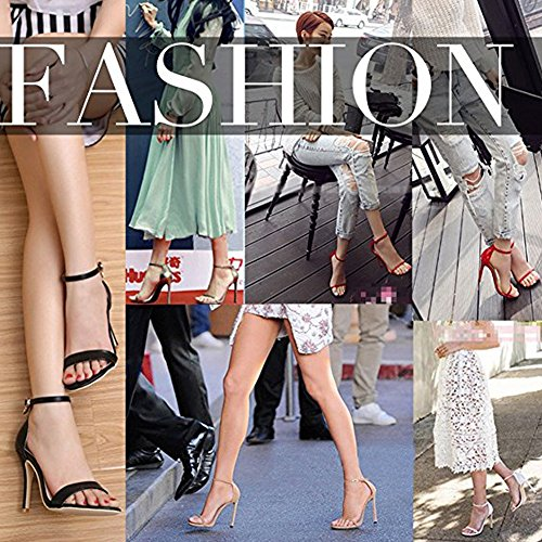 For b Strappy Women`s C Onlymaker Strap Stiletto Pumps Heeled Party red Fashion Sandals Wedding Ankle n1ngWwFqz